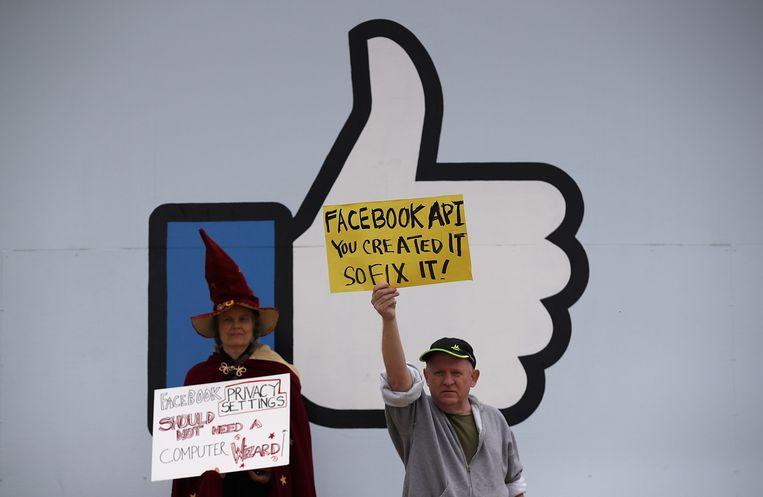 Een protestactie aan het hoofdkwartier van Facebook. Beeld AFP