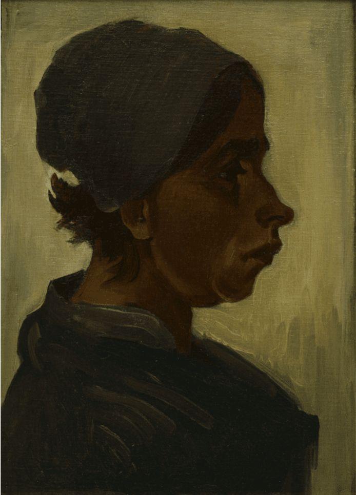 Vincent van Gogh, Kop van een vrouw, februari-maart 1885, olieverf op doek op paneel, 40 x 29,5cm. Collectie Het Noordbrabants Museum. Verworven met steun van BankGiro Loterij, Het Noordbrabants Museum Fonds, Coen Teulings, John & Patricia Groenewoud en de JK Art Foundation.
