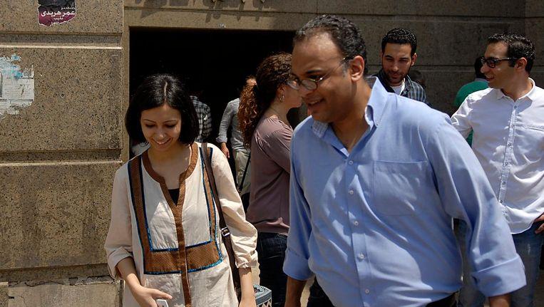 Hossam Bahgat, de oprichter van een van de getroffen organisaties, komt de rechtbank uit in april Beeld epa