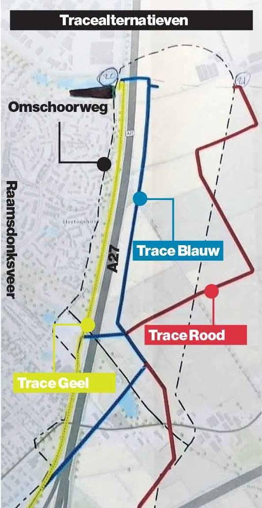De gele lijn is het gewraakte tracé.