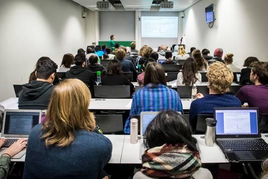 Studenten krijgen les aan de universiteit van Wageningen.