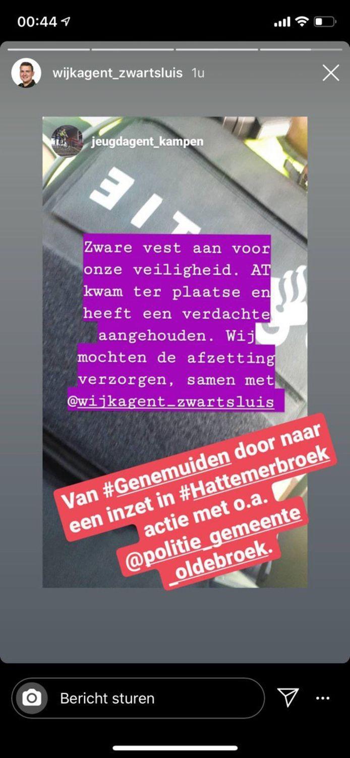 Agenten die een nachtdienst draaiden in Kampen en Zwartsluis kwamen ook voor assistentie naar Hattemerbroek.