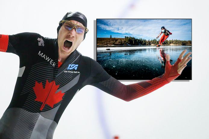 Ted-Jan Bloemen. Inzet: schaatsend op een Canadees bergmeer.