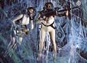 Beeld uit de film Fantastic Voyage uit de jaren 60, waarin een onderzeeër en zijn bemanning microscopisch worden verkleind om een lichaam te kunnen doorkruisen.