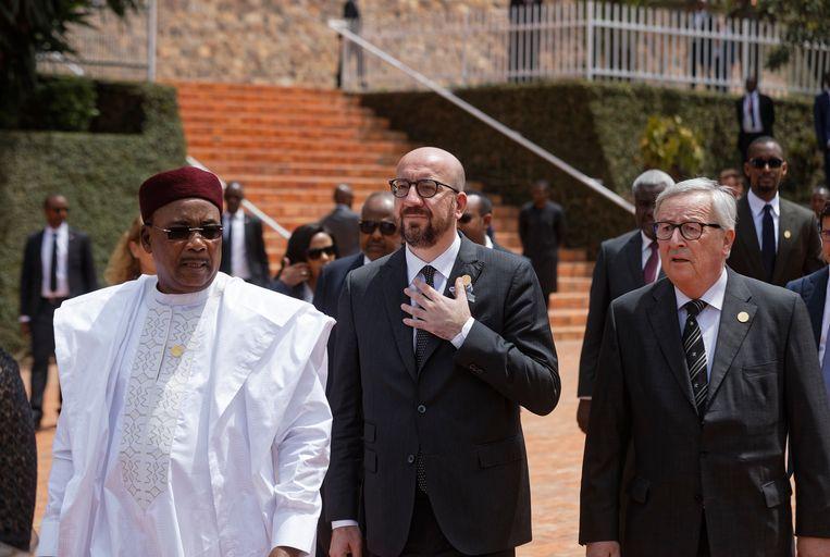 Premier Michel op bezoek in Kigali. Beeld AP