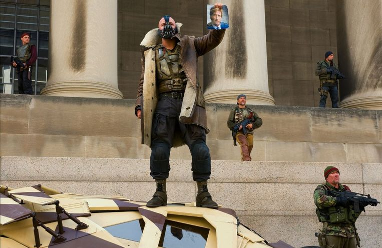 Tom Hardy als Bane in de film Dark Knight Rises. Beeld Filmstill
