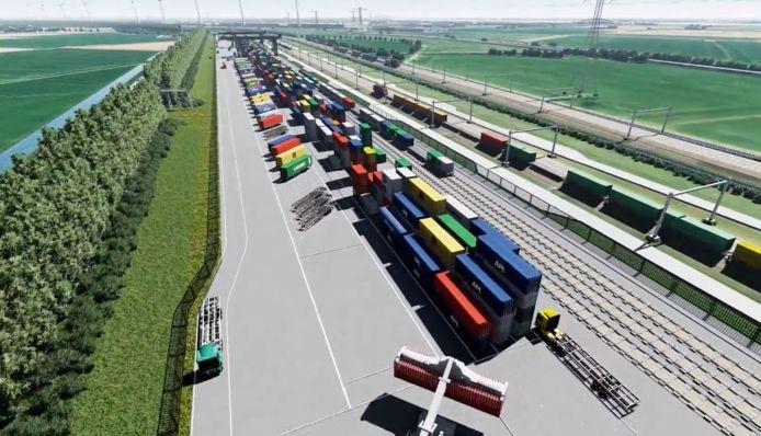 Artist impression van de Railterminal Gelderland, waar treinen 'zeilend' binnen moeten komen.