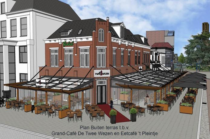 Het nieuwe terras van De Twee Wezen en 't Pleintje in Hengelo