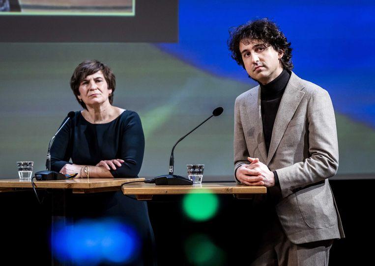Lilianne Ploumen (PvdA) en Jesse Klaver (GroenLinks) tijdens COC's Regenboog Verkiezingsdebat 2021. Beeld EPA