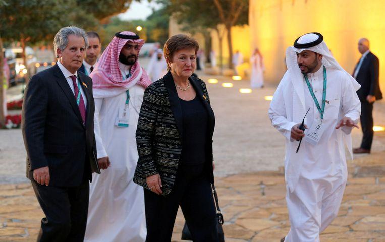 Kristalina Georgieva, directrice van het IMF, woont het welkomstdiner bij in het Murabba Palace in Saoedie-Arabië tijdens de G20.  Beeld REUTERS