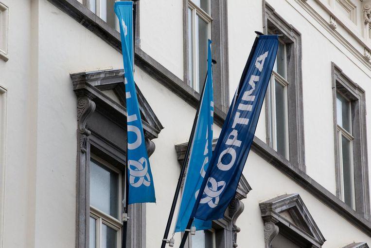 De bank Optima, die een imposant pand in de Gentse binnenstad betrok, werd op 15 juni failliet verklaard. Beeld belga