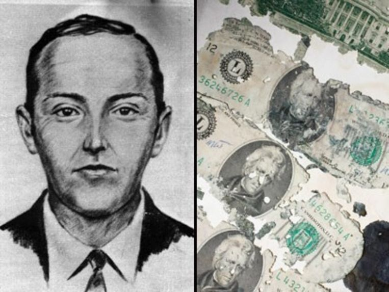 Een tekenschets van D.B. Cooper en de 20-dollar briefjes die een jongetje van 8 terugvond. De nu volwassen man wil er geld uitslaan.