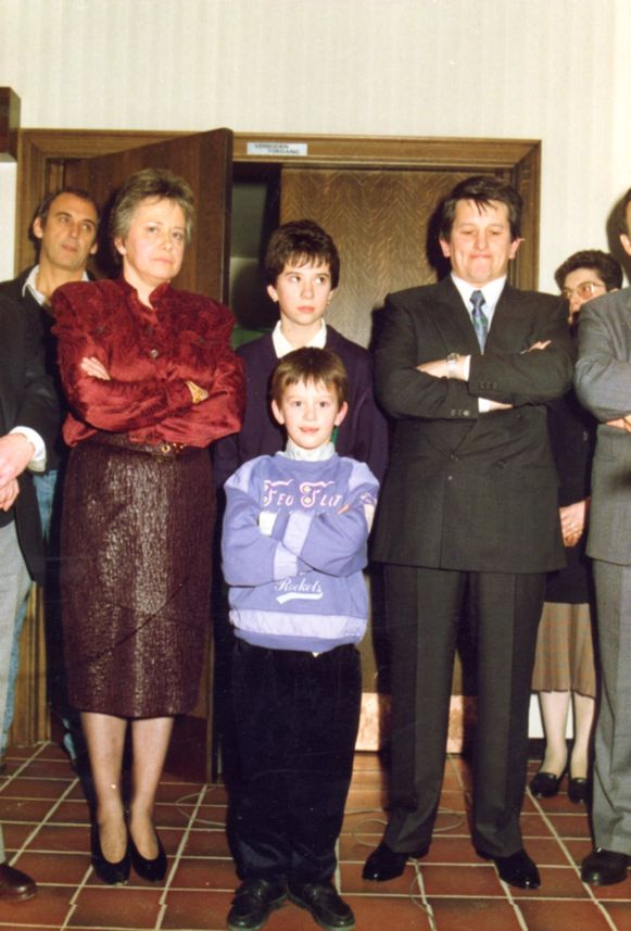 Het gezin Volkaert bij de opening van de nieuwe feestzaal.