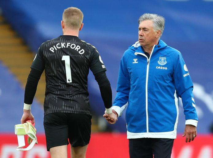 Pickford en Ancelotti.