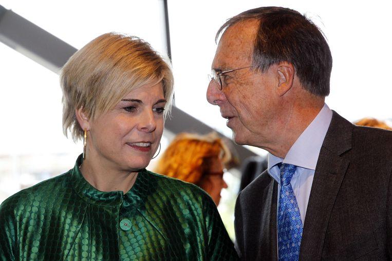 Laurens Jan Brinkhorst (R) in 2013 met zijn dochter Prinses Laurentien. Beeld null