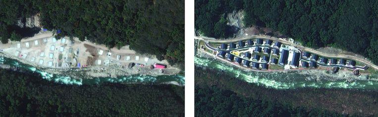 Een van de Chinese dorpjes op Bhutaans grondgebied. Links oktober 2020 en rechts december 2020. Beeld Maxar Technologies