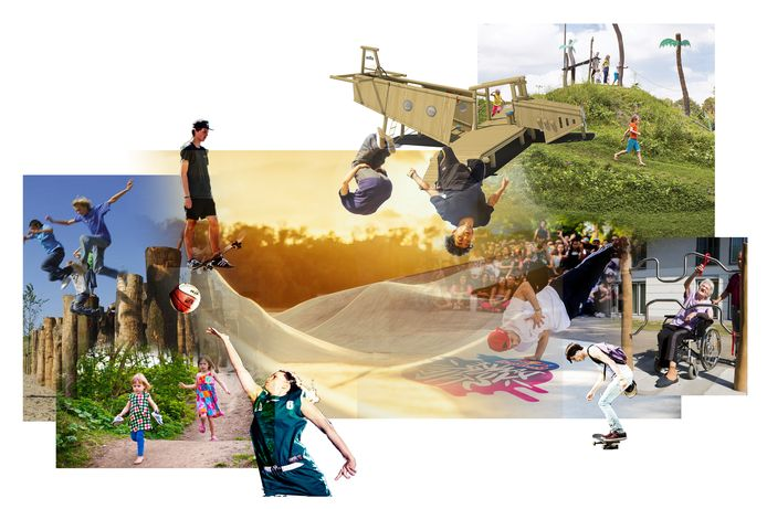 Een artist's impression van hoe het nieuwe urban sports- en speelpark in Roosendaal er straks uit moet komen te zien.
