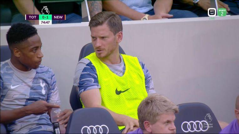 Jan Vertonghen op de bank bij de Spurs.