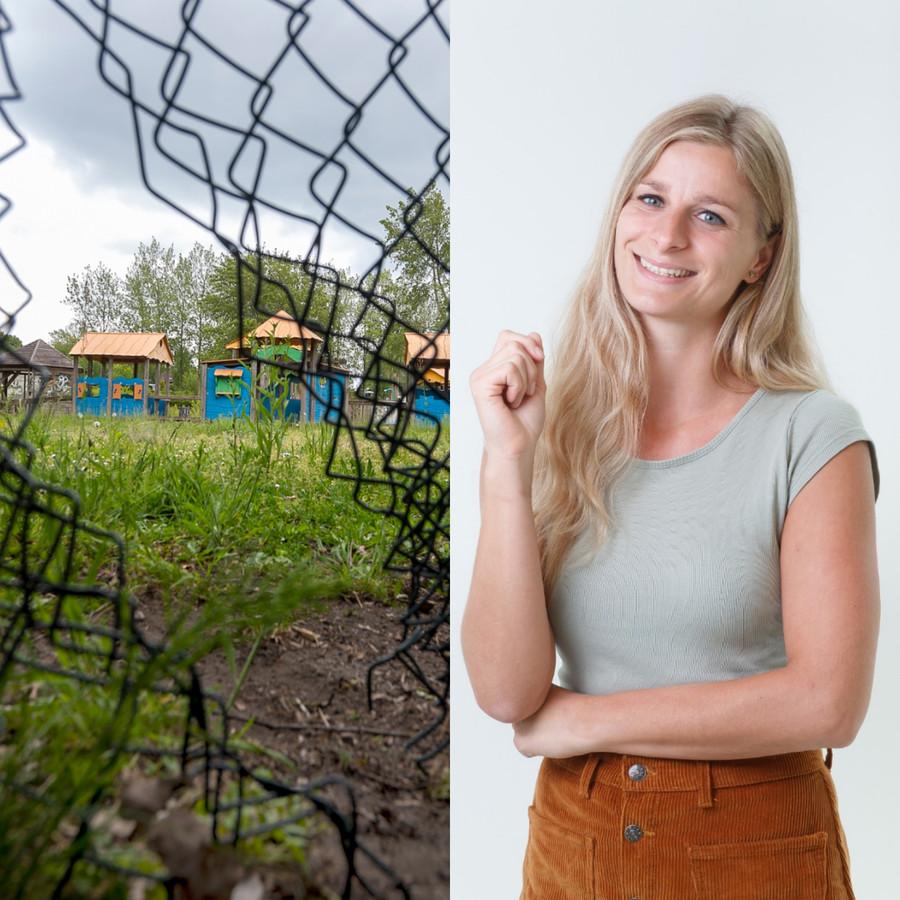 Kinderen die via een gat in het hek een oude speeltuin betreden: kan best, volgens columnist Fee Buurmans