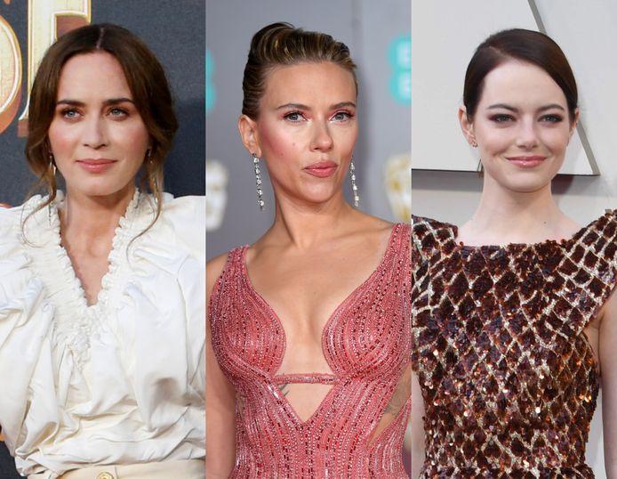 Van links naar rechts: Emily Blunt, Scarlett Johansson en Emma Stone.