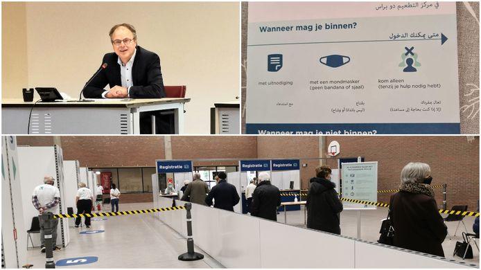 Burgemeester Jan Desmeth (N-VA, linksboven) besliste samen met zijn collega's dat de meertalige folders niet meer gebruikt mogen worden in het vaccinatiecentrum in Halle.