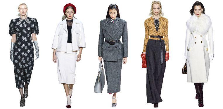 Vanaf links: Erdem, Marc Jacobs, Prada, Miu Miu, Lanvin Beeld Imaxtree