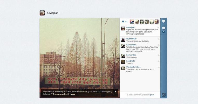 Een van de eerste, zo niet de eerste, Instagram-foto uit Noord-Korea, van Jean Lee. Beeld