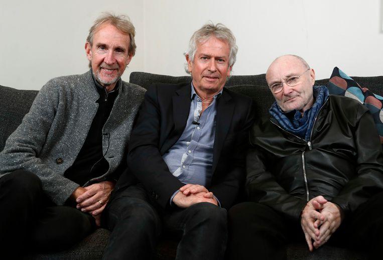 Bandleden Mike Rutherford, Tony Banks en Phil Collins Beeld AP