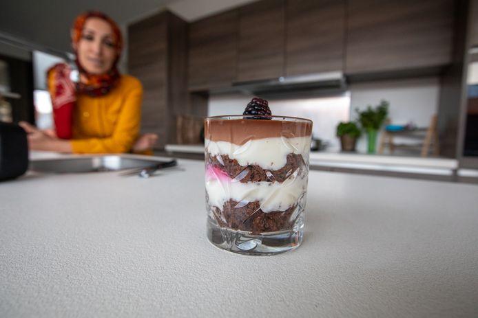 Het dessertje ziet er lekker uit