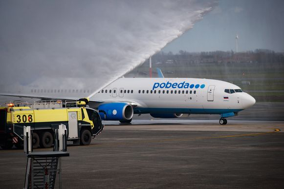 Foto van de inhuldiging van de eerste vlucht tussen Oostende en Moskou, 7 maart 2019.