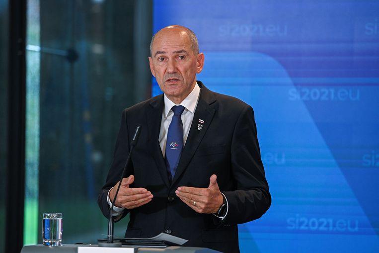 De Sloveense premier Janez Jansa noemde Europarlementariër Sophie in 't Veld een 'marionet van George Soros'.  Beeld Reuters