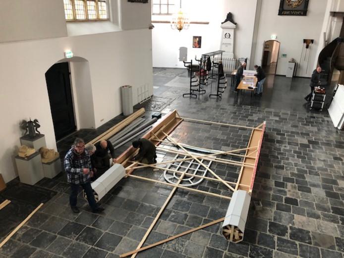 Opbouw van de replica van de synagoge