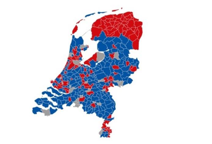 Uitslag raadgevend referendum. Met in rood aangegeven waar de meerderheid tegen heeft gestemd.