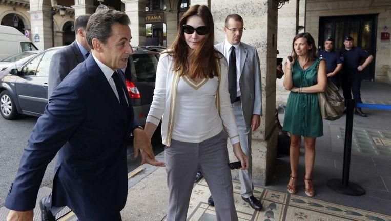 Sarkozy en zijn vrouw Bruni Beeld afp