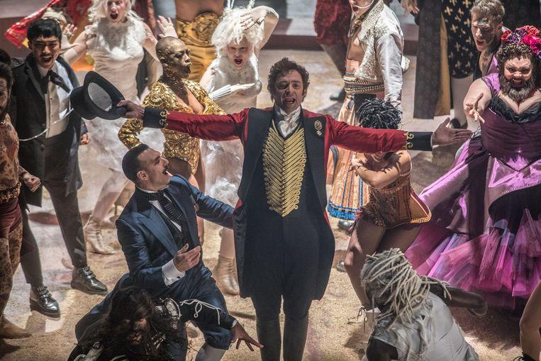 Hugh Jackman en de zijnen verkochten vorig jaar het meeste platen in de VS, met de soundtrack van 'The Greatest Showman'. Beeld RV Twentieth Century Fox