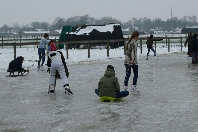 Schaatsen, glijden op de slee of zitten op een stoel. IJsplezier in alle vormen en maten op de bevroren paarden-buitenbak bij familie Wijnen in Berlicum.