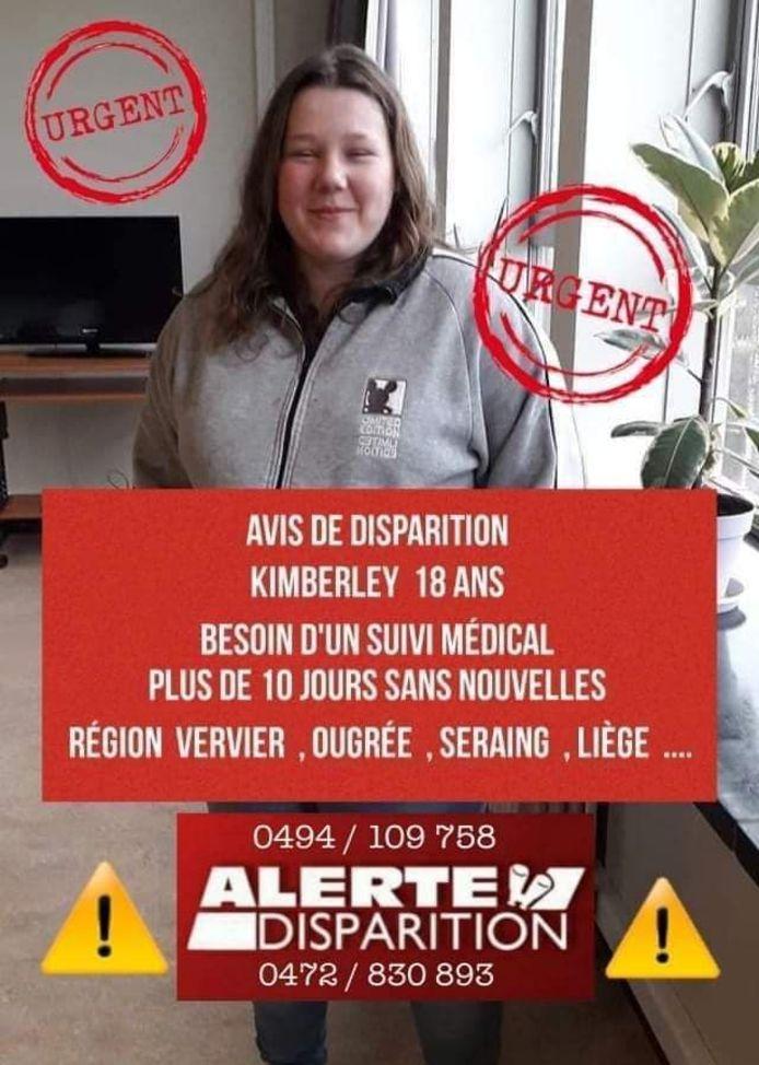 Kimberly, 18 ans, a disparu le 22 avril 2021. Elle a quitté le CHR de Verviers et n'a, depuis, plus donné de signe de vie.