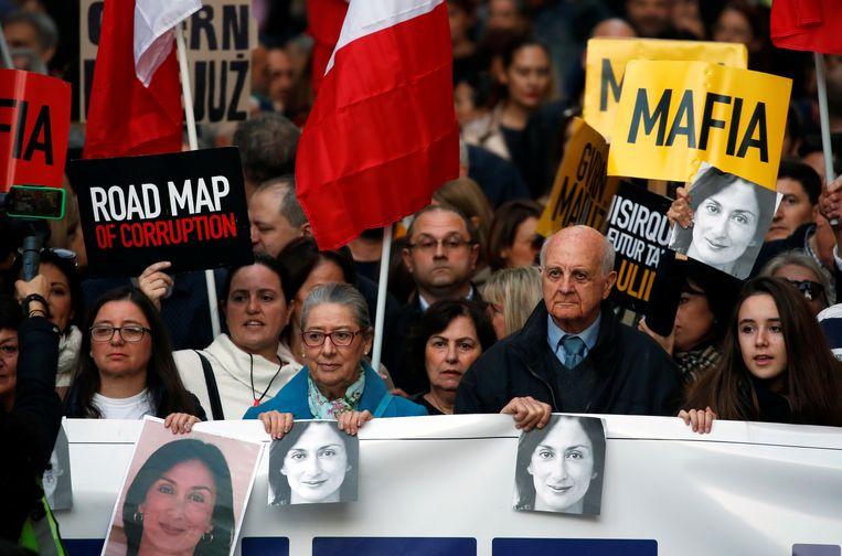 Demonstranten afgelopen december op Malta.  Beeld REUTERS