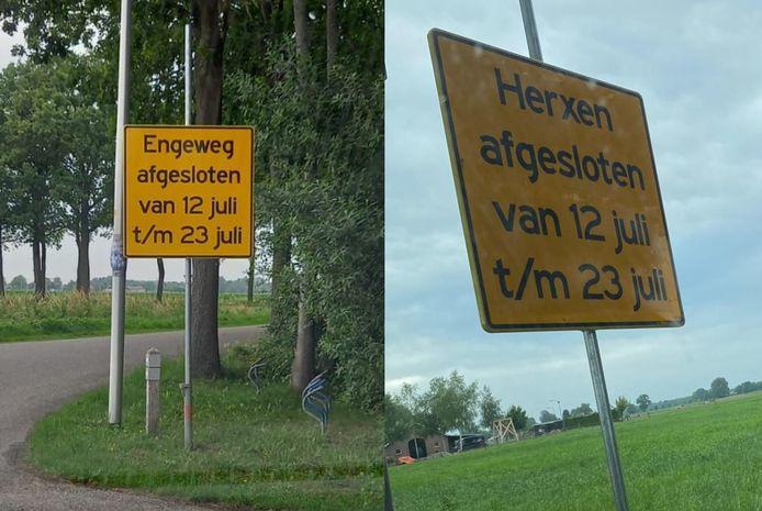 In Herxen staat een bord dat in Elshof moet staan en andersom.