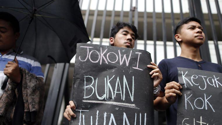 Protest tegen de doodstraf in Jakarta. Beeld epa