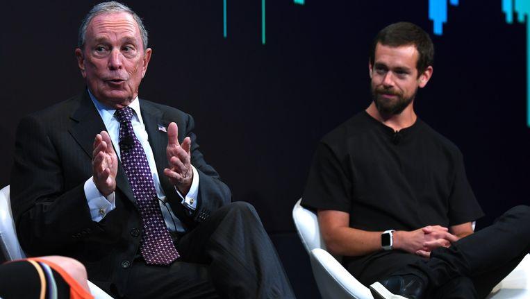 Twitter-CEO Jack Dorsey (R) met Bloomberg-oprichter Michael Bloomberg.