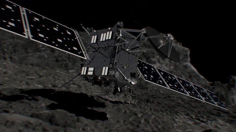 Een computeranimatie van komeetjager Rosetta. Beeld afp