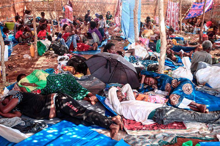 25.000 Ethiopiërs sloegen op de vlucht toen de gevechten uitbraken en staken de grens met Soedan over. Volgens de UNHCR zijn dat er inmiddels meer dan 27.000. Beeld AFP