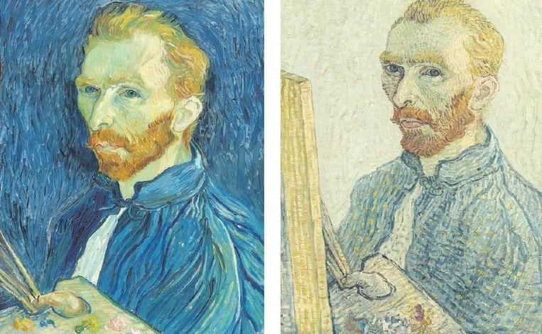 Een echt zelfportret van Vincent van Gogh (links) en een vervalsing gemaakt door een onbekende (rechts). Beeld