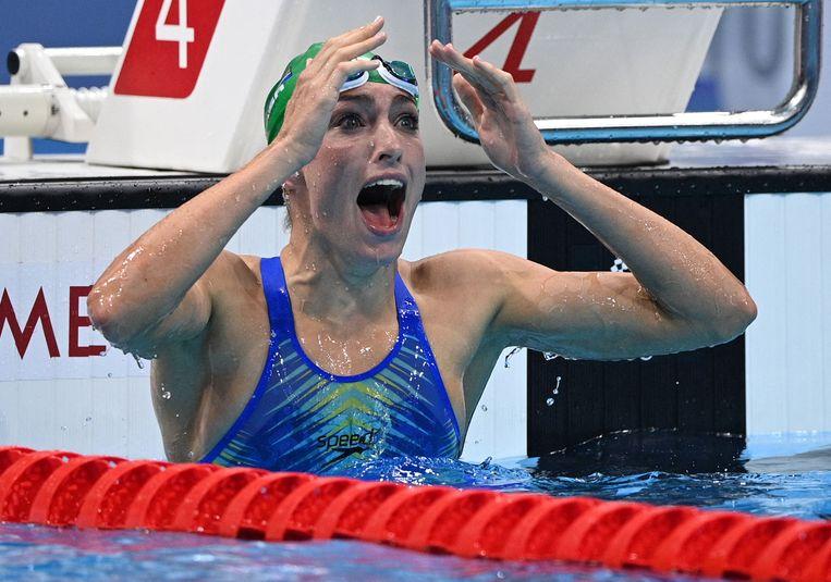 De Zuid-Afrikaanse Tatjana Schoenmaker veroverde vrijdag het goud in een nieuw wereldrecord (2:18.95) Beeld AFP