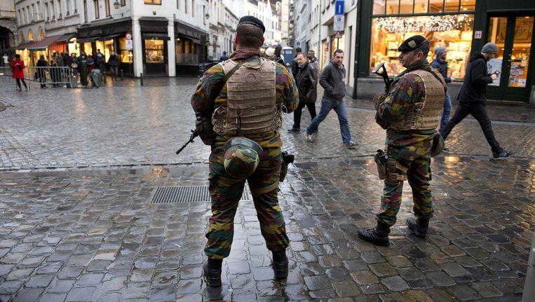 Extra beveiliging op straat in Brussel. Beeld anp