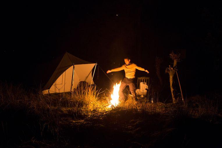 Verslaggever Noël van Bemmel kampeert in Drenthe via Campspace. Beeld Pauline Niks