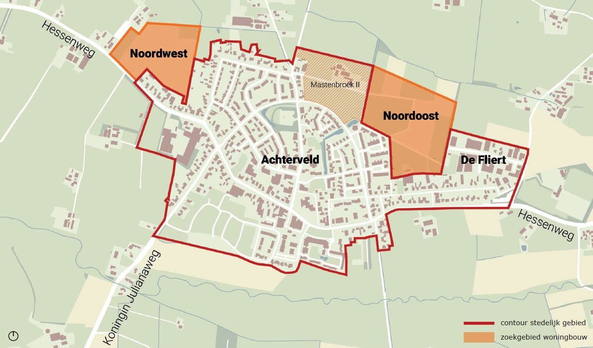 De oranje vlakken buten Achterveld staan te boek als locatie voor nieuwe woonwijk. De bouwplannen voor Mastenbroek II zijn al klaar.