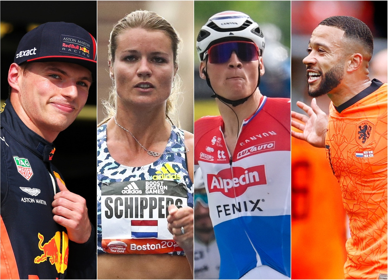Max Verstappen, Dafne Schippers. Mathieu van der Poel en Memphis Depay (vlnr) vervullen voor Nederland een prominente rol in de sportzomer.