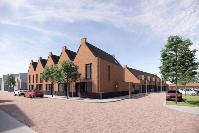 Een impressie van de toekomstige woningen op het braakliggende perceel aan Laageinde in Waalwijk.